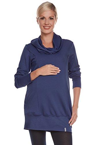 Be! Mama - 2in1 Umstandspullover, Sweatshirt, Still-Pulli, hochwertige Baumwolle, Modell: Nella, dunkelblau, Größe L