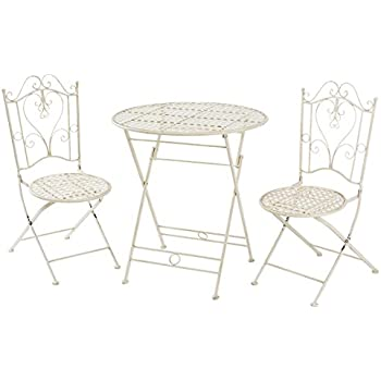 miavilla gartenm bel lana bistro set vintage metall antik wei 3 teilig. Black Bedroom Furniture Sets. Home Design Ideas