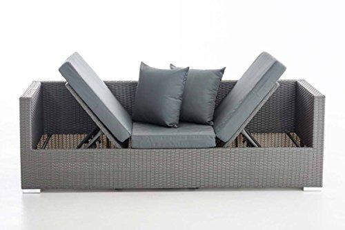 CLP flexibles Poly-Rattan 3er Lounge-Sofa SOLANO, ALU-Gestell, 4 Rattanfarben + 5 Kissenfarben, inkl. Auflagen Rattanfarbe: Grau, Kissenfarbe: Eisengrau - 4