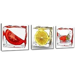 Cuadros en Lienzo 150 x 50 cm Nr. 4204 frutas Cocina enmarcado y listo para colgar, calidad de la marca Visario