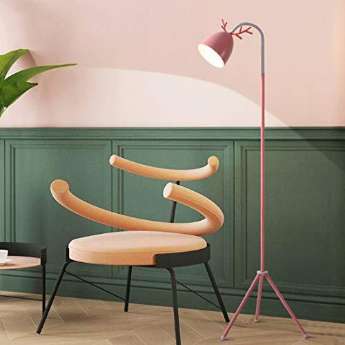 LAMPES DE SOL LED ZXC YWXLight Macaron Lampadaire Nordic Chambre Salon étude Cute Pink Creative Antler Eye LED Lampe de table (Noir) (Couleur : Rose)