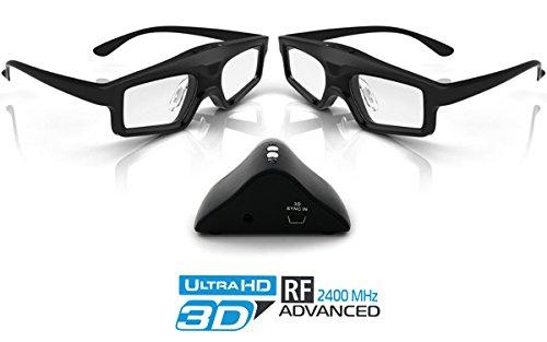 1000 Rf Kit (Hi-Shock 3D-RF Advance Kit RF Vesa 144 | RF 3D System für alle Optoma 3D Projektoren mit 3D SYNC Port | RF Emitter + 2X RF Brille Power Light [Mini-DIN 3Pin | 2.4G-RF | 96-144 Hz | CR2032)