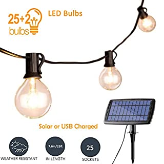 Solar LED String Lights Outdoor 25ft G40 Globe Patio Hanging Lights Waterproof 25+2 Spare Bulbs, Decorative Indoor/Outdoor Warm White for Backyard Garden Festoon Party [Energy Class A+++]