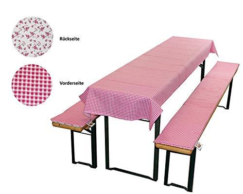 MERINO BETTEN Bierbankauflage & Tischdecke im 3 tlg. Set, Biertischauflagen-Set für Alle gängigen Bierzeltgarnituren (Weitere verfügbar) (70 x 240 cm, Pink)