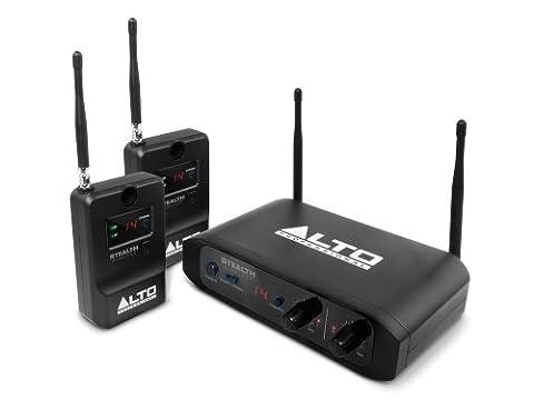 ALTO Professional - Stealth Wireless - Système Stéréo sans Fil pour Enceintes Actives avec 1 Émetteur et 2 Recepteurs, Portée du Signal 60 m - Noir