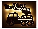 Schlummerlicht24 Led Feuerwehr Wagen - Feuerwehrauto Auto Name Geschenk Deko Feuerwehrzimmer Kinderzimmer Geburtstagsgeschenk Junge