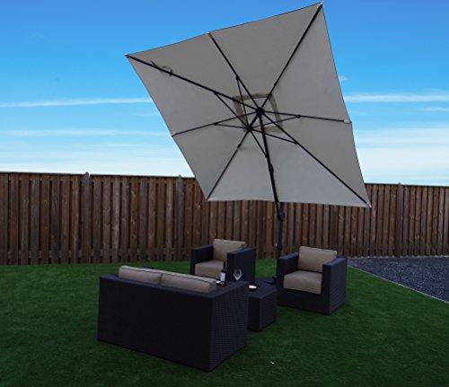 Ampelschirm Sonnenschirm | Sandfarben | 300 x 300 cm / 3 x 3m | Viereckig / Quadratisch | SORARA |...