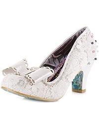 Flower-Ager Womens Square Toe Brautkleid Gericht Schuhe/Glitter Strass Perle Hochzeit Schuhe Party  Abend Heels