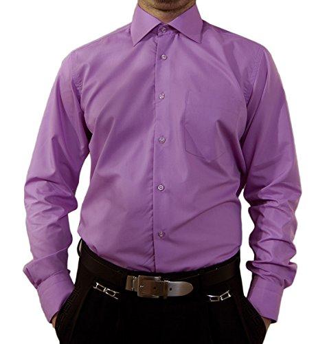 Camicia da uomo senza stiro, colletto classico, camicia da uomo, a maniche lunghe, colori assortiti Lila