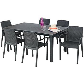 ALLIBERT Salon de Jardin: Table + 6 fauteuils Cappuccino ...