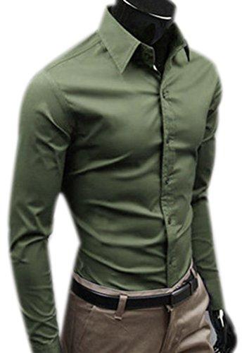 Fuxiang camicie uomo slim fit maniche lunghe casual camicia abito camicia affari top classiche formale camicetta shirt moda men colore puro shirts army green m