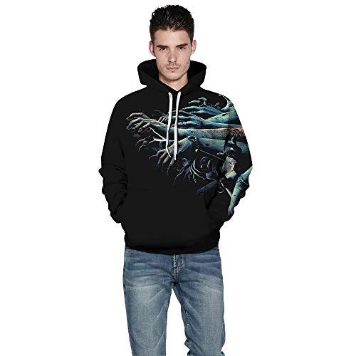 (KPILP Halloween Frauen Männer Paare Sweatshirt Skelett 3D-Druck Langarm-Shirt Hoodie Pullover Top(B-Mehrfarbig, XL))