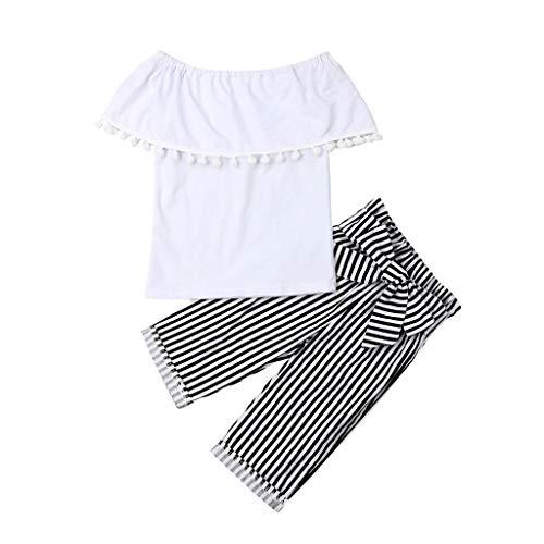 Zegeey MäDchen Baby Bekleidungssets AnzüGe Schulterfrei Quaste Tops Blusen Gestreifte Hosen Outfits Set LäSsig Geburtstag Geschenk(Weiß,100-110cm)