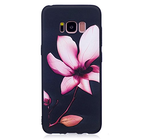 S8 Hülle ,Samsung S8 Shell Case , Galaxy S8 Black Hülle, Cozy Hut® [Liquid Crystal] [Matte Black] [With Lanyard/Strap] Samsung Galaxy S8 Ultra Slim Schutzhülle ,Anti-Scratch Shockproof und Schutz vor  Lotus