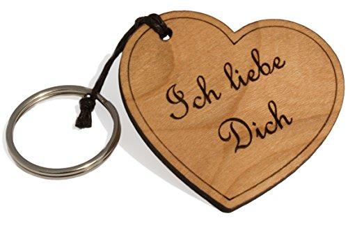 Herz Schlüsselanhänger aus Holz mit Gravur Ich Liebe Männer & Frauen - Ideales Geschenk zum Jahrestag - Partner Geschenke von Limera