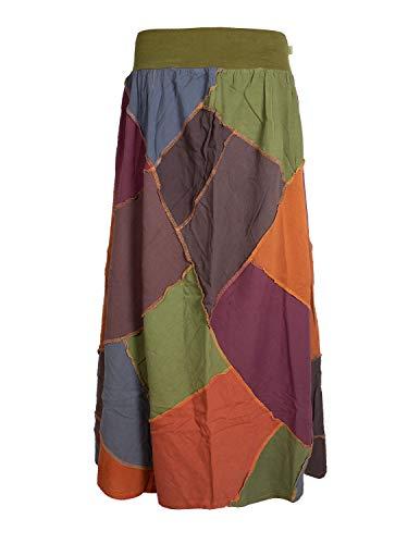 Vishes - Alternative Bekleidung - Langer Weiter Damen Patchwork-Rock - Hand-Gewebte Baumwolle bunt 34 -