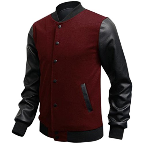 Minetom Uomo Moda College Baseball Jacket Giubbotto Felpa - PU Cuciture in Pelle ( Vino rosso IT 44 )
