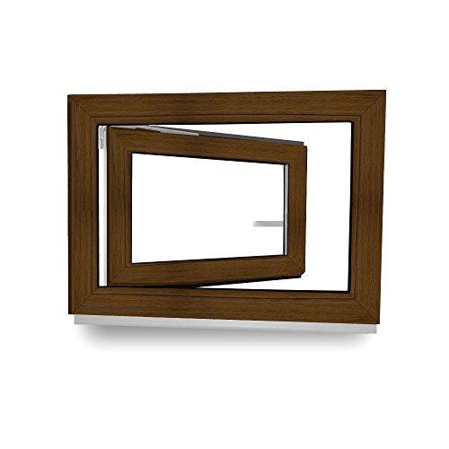 Kellerfenster - Kunststoff - Fenster - braun (Nussbaum)/weiß - BxH: 90x40 - DIN Rechts - 60mm Profil - 2-fach-Verglasung - Wunschmaße möglich