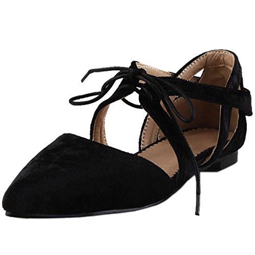 TAOFFEN Femme Mode Bout Ferme Pointue Escarpins Plat Laniere Croise Sangle Bow Noir