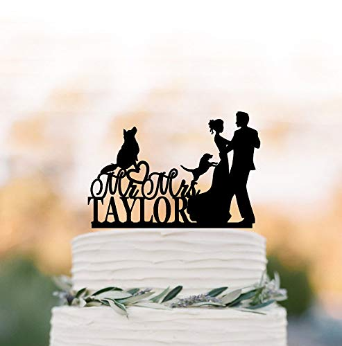 Decorative figure for wedding cake, 2 dogs. Funny decoration for cake with silhouette of bride and groom, for decoration of wedding cakes