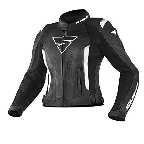 SHIMA MIURA JACKET BLACK/WHITE 38 Sportschutz mit Armored Damen Motorrad Lederanzug