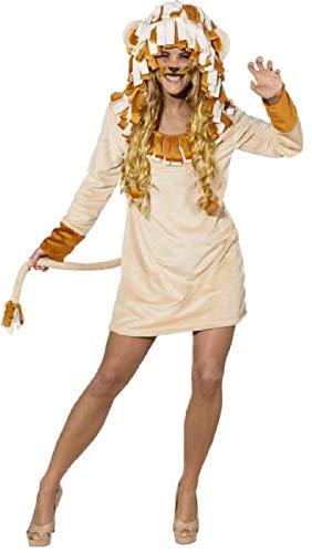 narrenkiste O9905-46-48 beige Sexy Damen Löwin Löwe Löwen Kleid Kostüm Gr.46-48