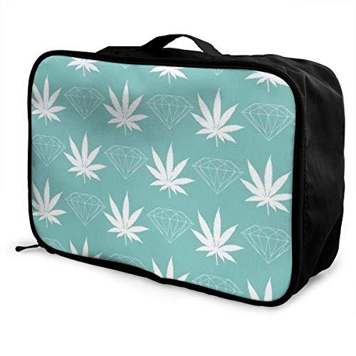 Gepäckträgertaschen,Gepäck Reisetasche,Foldable Duffel Travel Bag Lightweight Large Capacity Portable Luggage Bag Waterproof Storage Tote Bag Cool Diamond Weed Mint Green Lightweight Carry-on -