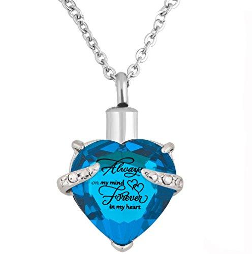 Herz Einäscherung Urn Halskette für Asche Urn Schmuck Memorial Anhänger mit Fill-Kit und Geschenk-Kasten (Himmelblau) -