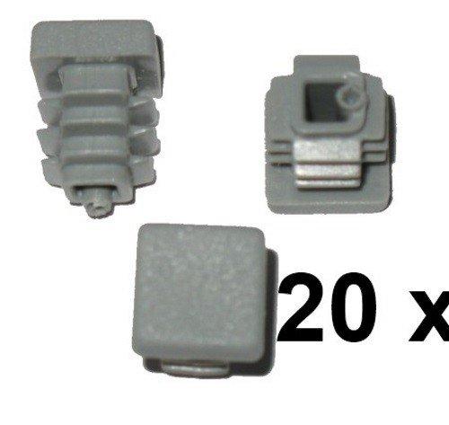 20 x Bouchon à lamelles carré rohrstopfen 20 x 20 mm (extérieur) Bouchon Gris