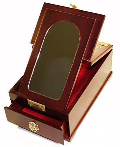 Silver J Petite Table Miroir tiroir, Nacre incrustés, Oriental Cadeau