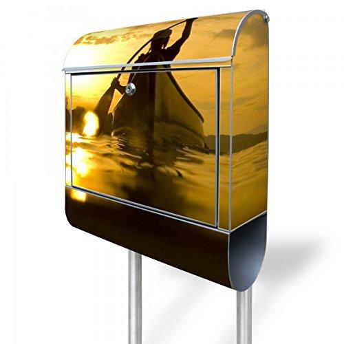 banjado - Standbriefkasten Motivbriefkasten mit Ständer und Motiv Kanu (Braun Kanu)
