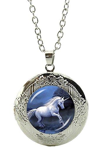 Einhorn Amulett zum Öffnen - Halskette mit Anhänger aus Glas und Kette/Silberschmuck/Indianerschmuck - 01 ()