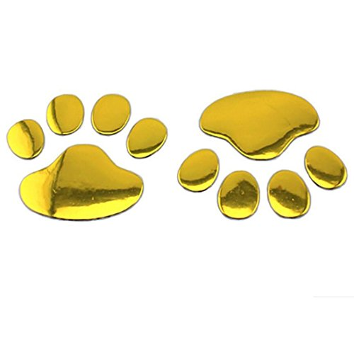 2stylische Bear Paw Pet Footprints Tiere Emblem Auto Truck Decor 3D Aufkleber Aufkleber Auto Aufkleber Auto Zubehör gold