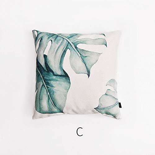 POPRY 45 * 45 cm nordischen Stil Schlafsofa Baumwolle und Leinen Pflanze Kissenbezug Ohne Kern Kissen Kissen Quadrat, C