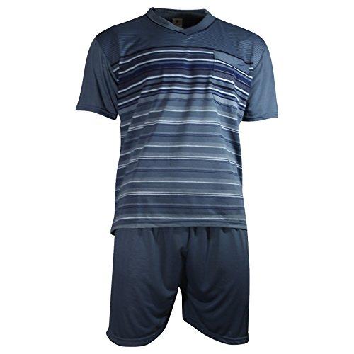 Herren Schlafanzug kurz Shorty T-Shirt bedruckt Hose uni 2 Typen in 6 Farben - Qualität von Lavazio®, Größe:3XL, Farbe:Typ2 dunkelgrau