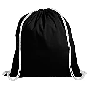 20 Cotton Childrens Drawstring Rucksack - Gym, Swim, Sports, PE, Book Bag (Black)
