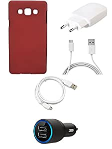 NIROSHA Cover Case Charger USB Cable for Samsung Galaxy A8 - Combo