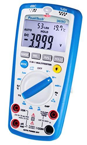 PeakTech 3690 - Digitales 5-in-1 Multimeter, Luxmeter, Schallpegelmessgerät, Luftfeuchtigkeitsmessgerät, Spannungsmesser, Thermometer, Handmultimeter, Durchgangsprüfer, Messgerät, 4000 Counts - 600 V -