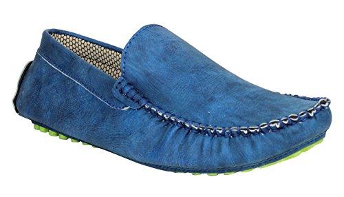 Digni Mocassins Casual Party Tenue de soirée pour hommes Slip On Chaussures de conduite Slipper Bleu