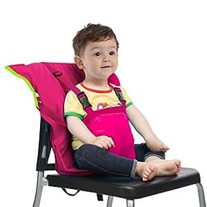 Vine Chaise Nomade pour Bébé Tissu de voyage portable Chaise haute siège d'appoint pour infant Harnais de Sécurité Siège, Rose