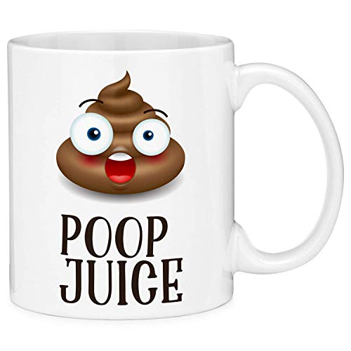 a18ffc9c9f3c Poop Juice Shocked Emoji Funny Quote Coffee Mug Cup Fun Novelty Gifts for Wo men and Men with Gift Box (11oz)
