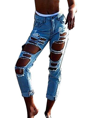 Jeans straight donna hole strappati pantaloni in denim boyfriend jeans distrutti lunghi pantaloni azzurro l