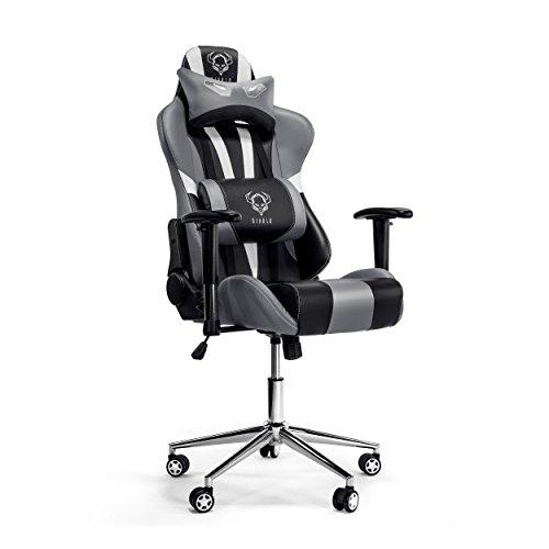 Diablo X-Eye Gaming Stuhl verstellbare Armlehnen belastbar bis 150 kg Wippfunktion Lendenkissen Kunstleder Farbauswahl (schwarz/grau)