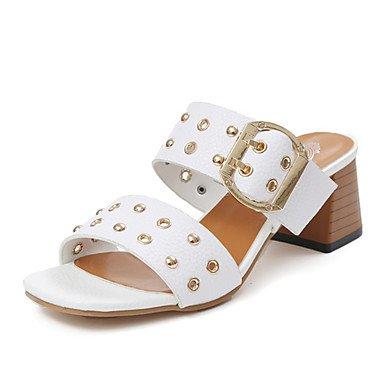 RUGAI-UE Estate Moda Donna Sandali Casual PU scarpe tacchi comfort,Bianco,US8 / EU39 / UK6 / CN39 White