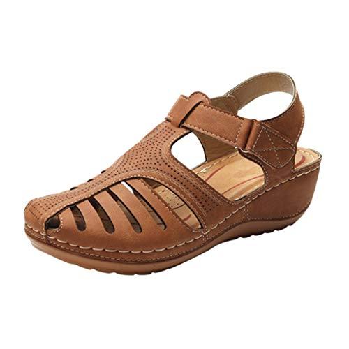 Sandals mit Klettverschluss für Frauen/Dorical Damen Freizeitschuhe Sommer Knöchel Strandschuhe Bequeme rutschfest Outdoorschuhe Elegant Einfach Sommerschuhe Roman Sandalen Größe 36-44(Braun,43) -