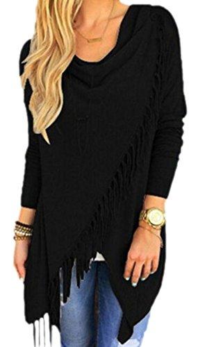 confit you - Damen Cardigan Fransen Shirt , M, Schwarz (Nadelstreifen Stretch-blazer)