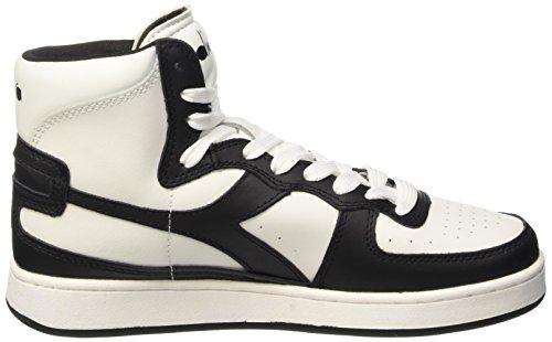 Diadora Mi Basket - Sneaker alte Unisex adulto Multicolore (C0351 Bianco/Nero)