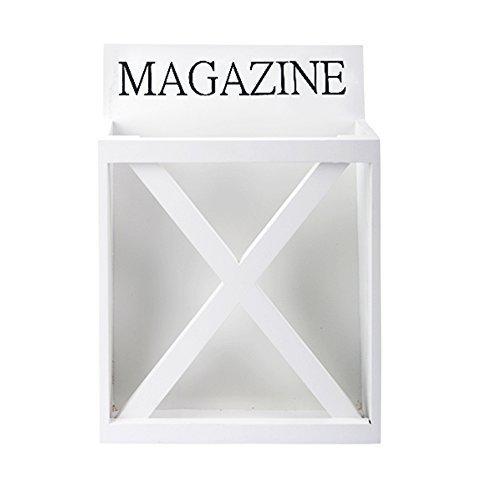 Zeitschriftenrack Zeitungsständer Zeitung Wandzeitungshalter Shabby Landhaus (Weiß / Magazine) -