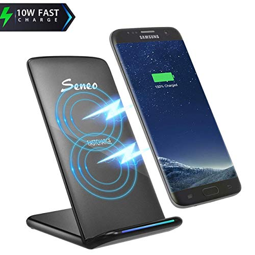 Fast Wirless Charger, Seneo Qi Charging Dock Stand [2018 New Version] 10W for Samsung Galaxy S9 S9 Plus Note 8 S8 S8 Plus S7 Edge S7 S6 Edge Plus Note 5, 5W Charge for Apple iPhone X iPhone 8 / 8 Plus (No AC Adapter)