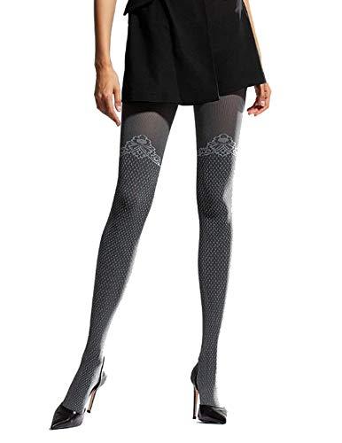 ea0931ba58a22d Knittex Blickdichte Damen Strumpfhose Overknee Look mit Muster Pantyhose  Stockings aus Microfaser 3D 50 DEN Schwarz